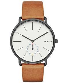 Skagen Men's Chronograph Hagen Brown Leather Strap Watch 40mm SKW6216