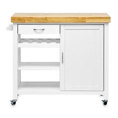 The Denver Modern Kitchen Cart is a multifunctional kitchen cabinet that is a freestanding piece on wheels, making it a great versatile storage space. Features shelves and drawers, it's a great way to extend your kitchen.