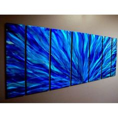 Blue Plumage Metal Wall Art Abstract Decor By Jon Allen Contemporary