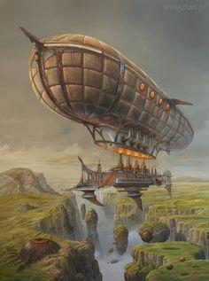 #steampunk #fantasy ship inspiration  Art Surrealism - Jaroslaw Jasnikowsi - Black Pearl