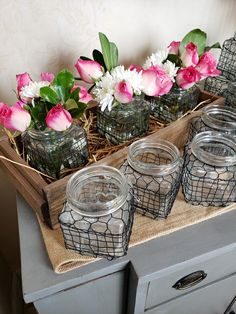 🌷 We're dressing up the shop today with fresh blooms. Pictured here: Our wire jars snuggled in a lath wood box with roses. Urban Farmhouse, Bee Keeping, Wood Boxes, Display Ideas, Jars, Dressing, Roses, Bloom, Cottage