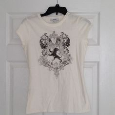 🔴REDUCED!🔴 Express Graphic Tee Express white graphic tee with black print and rhinestone embellishments. Perfect with a pair of jeans or shorts! Worn less than 3 times. 100% cotton Express Tops