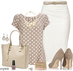 Pretty Womanisk - classy outfit with polka dots blouse and skirt outfitspedia