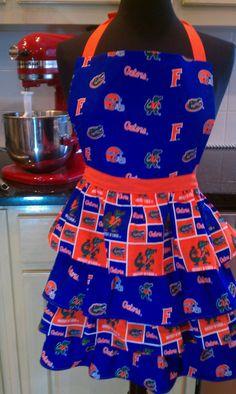 Florida Gator Tailgate Collegiate Hostess  Ruffled by KitcheyKoo, $28.00 Florida Gators Football, Sec Football, College Football, Gator Game, Florida Girl, Tailgating, Tim Tebow, Orange Crush, Kitchen Tips