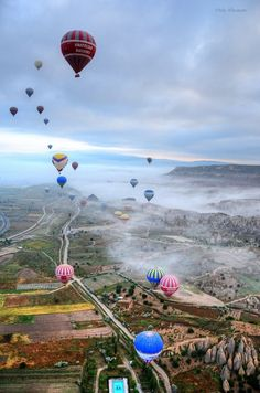 hot air balloons. I don't even know where this is, but I want to be there. Right now.