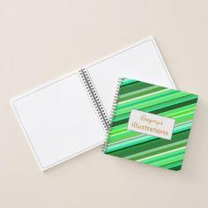 Custom Name  Various Shades of Green Stripes Notebook - pattern sample design template diy cyo customize