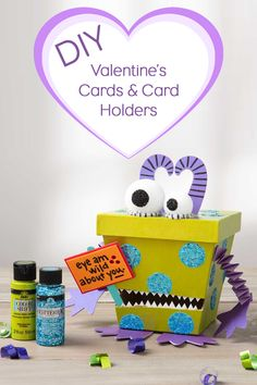 The Plaid Palette explores DIY art & crafting through articles, creative inspiration galleries, how-to's, videos, expert advice & more. Diy Valentines Cards, Valentine Day Crafts, Construction Paper, Diy Cards, Creative Inspiration, Toy Chest, Celebrations, Card Holder, Boxes