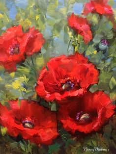 Artists Of Texas Contemporary Paintings and Art - Cascade Red Poppies by Flower Artist Nancy Medina