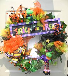 Trick or Treat Black Purple Orange and Green Whimsical Halloween Wreath by English Rose Designs
