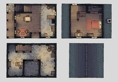The Delightful Dwelling, a battle map for D&D / Dungeons & Dragons, Pathfinder, Warhammer and other table top RPGs. Tags: town, ruins, set piece, building, house, home
