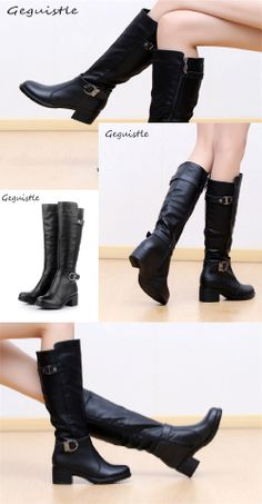 c83e43bc9 Fashion Women Boots Knee High Slim Boots Solid Colors Riding Women Elegant Comfortable  Boots Brand Name