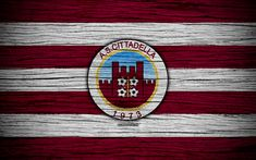 Download wallpapers AS Cittadella, Serie B, 4k, football, wooden texture, burgundy white lines, italian football club, Cittadella FC, logo, emblem, Cittadella, Italy
