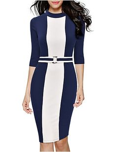 Women's Round Collar Plus Size Simple Color Block Sheath Pencil Dress 5279745 2016 – €18.61