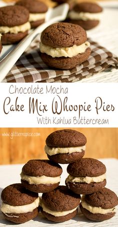 Mocha Cake Mix Whoopie Pies With Kahlua Buttercream Frosting Mokka Kuchen Mix Whoopie Pies Mit Kahlua Buttercreme Zuckerguss Cake Mix Whoopie Pies, Whoopie Pie Filling, Moon Pies, Köstliche Desserts, Delicious Desserts, Dessert Recipes, Plated Desserts, Cupcakes, Cupcake Cakes