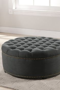 Round Gray Tufted Nail Head Ottoman by Wholesale Interiors on @HauteLook NEED THIS LIKE CRAZY