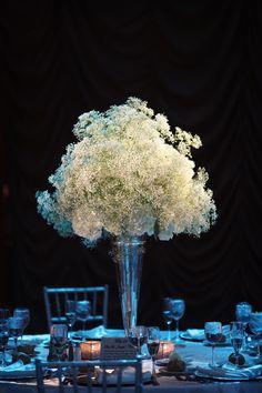 Beautiful Blooms Alison Conklin Crystal Tea Room White Babies Breath Tall Centerpiece