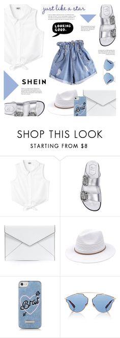 """Shein : Denim Shorts"" by viebunny ❤ liked on Polyvore featuring Roger Vivier, Rebecca Minkoff, Skinnydip, Christian Dior, ESPRIT, denim, denimshorts and shein"