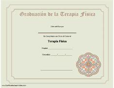 Graduación de la Terapia Física para imprimir los certificados, gratis para descargar e imprimir