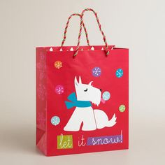 One of my favorite discoveries at WorldMarket.com: Large White Scottie Gift Bag