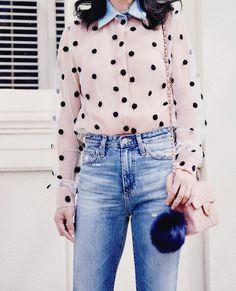 Natasha Zinko Dot Embroidery Shirt, AG High Waist Jeans, Mini Chanel Bag, Pom Pom Fur, Linda Farrow Pink Sunglasses, via: HallieDaily