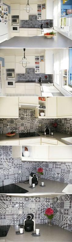 Poser une crédence adhésive dans la cuisine pour un look carreaux de ciment