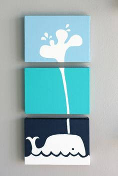 diy art canvas - could do flowers or butterflies, but the concept of three different colors with the pattern spreading to all three canvases is cool