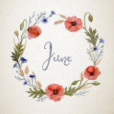 Hand-painted watercolour flower wreath for June