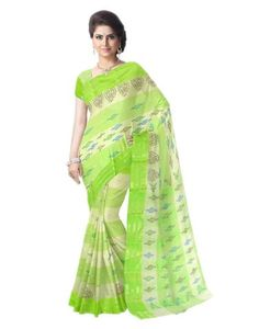 Striped Pattern Bengali Tant Saree- Light Green&Offwhite