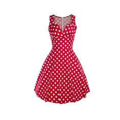 Vintage Sweetheart Neck Polka Dot Swing Dress ($29) ❤ liked on Polyvore featuring dresses, dot dress, red trapeze dress, red sweetheart neckline dress, vintage day dress and polka dot dresses