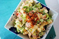 BLT Potato Salad.  Sub chobani for mayo.  Our Share of the Harvest