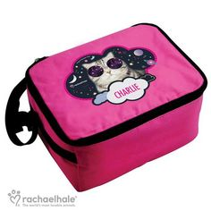 Personalised Rachael Hale Pink Lunch Bag - Space Cat