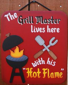 "9"" x 10"" This hand painted grill master wood sign would be a perfect gift for the grill master in your family. Grill master sign is made from wood and painted with red exterior paint. Sign is shaded around the edge to create a very colorful look. Grill and utensils are both separate pieces of wood that are attached to the barbeque sign. If you have an interest in this handmade grill master sign, then check out the rest of our camping signs and grilling signs on our other product pages. All…"