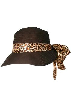 58376311cf5 Sun Cap Hat With Large Leopard Print Bow Wide-brim Hat