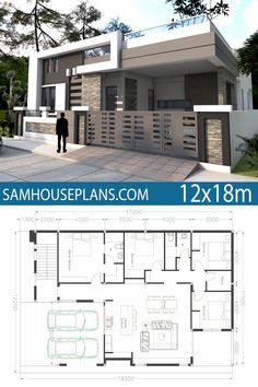 One Story House Plan Sketchup Home Design. This villa is modeling by SAM-ARCHITECT With 1 stories level. It's has 4 bedrooms. One Story House Plan Single Floor House Design, Simple House Design, Minimalist House Design, House Front Design, Modern House Design, House Plans Design, Modern Small House Design, Small Modern House Plans, New House Plans
