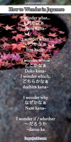"Educational infographic & data visualisation Japanese Language- How to phrase ""Wonder"" in a sentence Infographic Description Japanese Language- How to phrase ""Wonder"" in a sentence – Infographic Source – Japanese Quotes, Japanese Phrases, Japanese Kanji, Japanese Words, How To Study Japanese, Japanese Tumblr, Japanese Sentences, Language Study, Language Lessons"