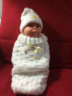 Baby Cuddle Sack and Hat Hand knit so soft and by CozeeQuilts