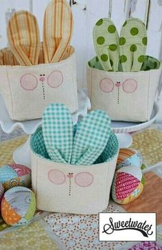 Bunny Basket Fabric Kit by sweetwaterscrapbook on Etsy Easter Projects, Easter Crafts For Kids, Diy Craft Projects, Sewing Projects, Easter Gift, Easter Bunny, Spring Crafts, Holiday Crafts, Easter Fabric