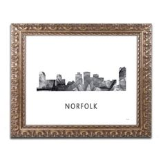 Trademark Fine Art 'Norfolk Virginia Skyline WB-BW' Canvas Art by Marlene Watson, Gold Ornate Frame, Grey