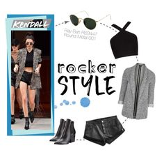 """Kendall Jenner Rocker Chic"" by smartbuyglasses-uk ❤ liked on Polyvore featuring Kendall + Kylie, Topshop, Ray-Ban and BCBGMAXAZRIA"