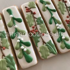 oh by gosh by golly, it's time for #mistletoe and #holly #artisancookiesetc #cookieart #cookies #yummy #greatgifts #christmas