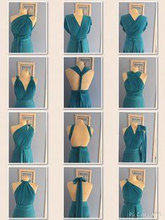 Multiway Infinity dress Teal stretch maxi dress bridesmaid size medium