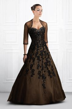 Chocolate Sweetheart Organza over Satin Delightful Celebrity Gown