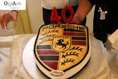 Compleanno, birthday, 40 anni, 40 years, torta, cake, birthday cake, porsche, logo, car, macchina, auto, porsche cake, OlgArt Cake Logo, Cake Birthday, 40 Years, Porsche Logo, Parties, Car, Desserts, Food, Stuttgart