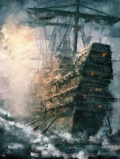 Fantasy pirate ship ctsuddeth.com Pirate Ships, Pirate Flags, Pirate Woman, Pirate Life, Pirate Art, Jolly Roger, Sailboats, Fantasy Landscape, Fantasy Art