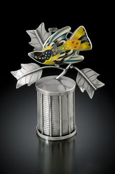 Oriole and Poplar By Michael Romanik. Container, Brooch / Pendant Cloisonne' enamel, fine and sterling silver Roller-textured, constructed, oxidized
