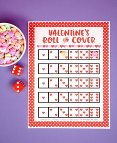Looking for a fun and easy Valentine's Day game for your classroom, family, church, or playgroup? This Roll & Cover Valentine Game is fun for kids of all ages! Use our free printable valentines game… Saint Valentine, Kinder Valentines, Valentine Bingo, Valentines Games, Valentines Day Pictures, Valentines Day Activities, My Funny Valentine, Valentines Day Party, Valentines Day Decorations