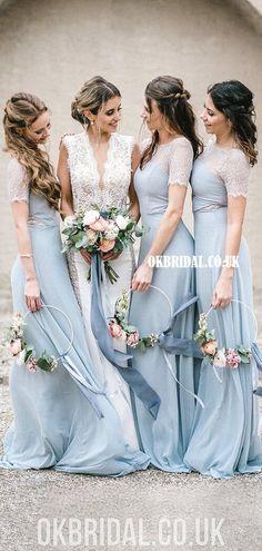 Honest A-line Chiffon 1/4 Sleeves Lace Long Bridesmaid Dress, FC4862 #bridesmaiddresses #bridesmaiddress #bridesmaids #dressesformaidofhonor #weddingparty #2021bridesmaiddresses #2021wedding Pale Blue Bridesmaid Dresses, Blue Bridesmaids, Colored Wedding Dresses, Wedding Bridesmaid Dresses, Winter Wedding Bridesmaids, Blue Winter Weddings, Summer Wedding, Dream Wedding, Taupe Wedding