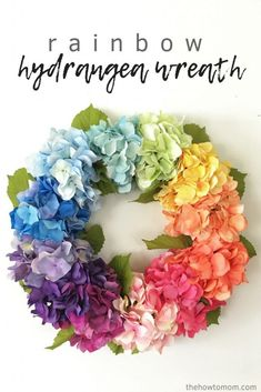 Learn how to make a hydrangea wreath using a wire wreath form and beautiful faux hydrangeas. This gorgeous rainbow hydrangea wreath can also be done in any color combination you prefer. Its a quick and easy DIY and the perfect colorful summer wreath! Cheap Wreaths, How To Make Wreaths, Tulip Wreath, Hydrangea Wreath, Floral Wreaths, Boxwood Wreath, Wreath Crafts, Diy Wreath, Burlap Wreaths