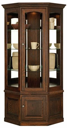 Pennsylvania Amish Built Fine Furniture Drumore Manor Curio Cabinets from Jonathan Smucker Woodworking Bedroom Furniture Redo, Corner Furniture, Fine Furniture, Home Decor Furniture, Painted Furniture, Furniture Storage, Brown Furniture, Furniture Dolly, Furniture Online