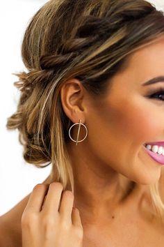 Circle/Bar Earrings- Gold - Dottie Couture Boutique